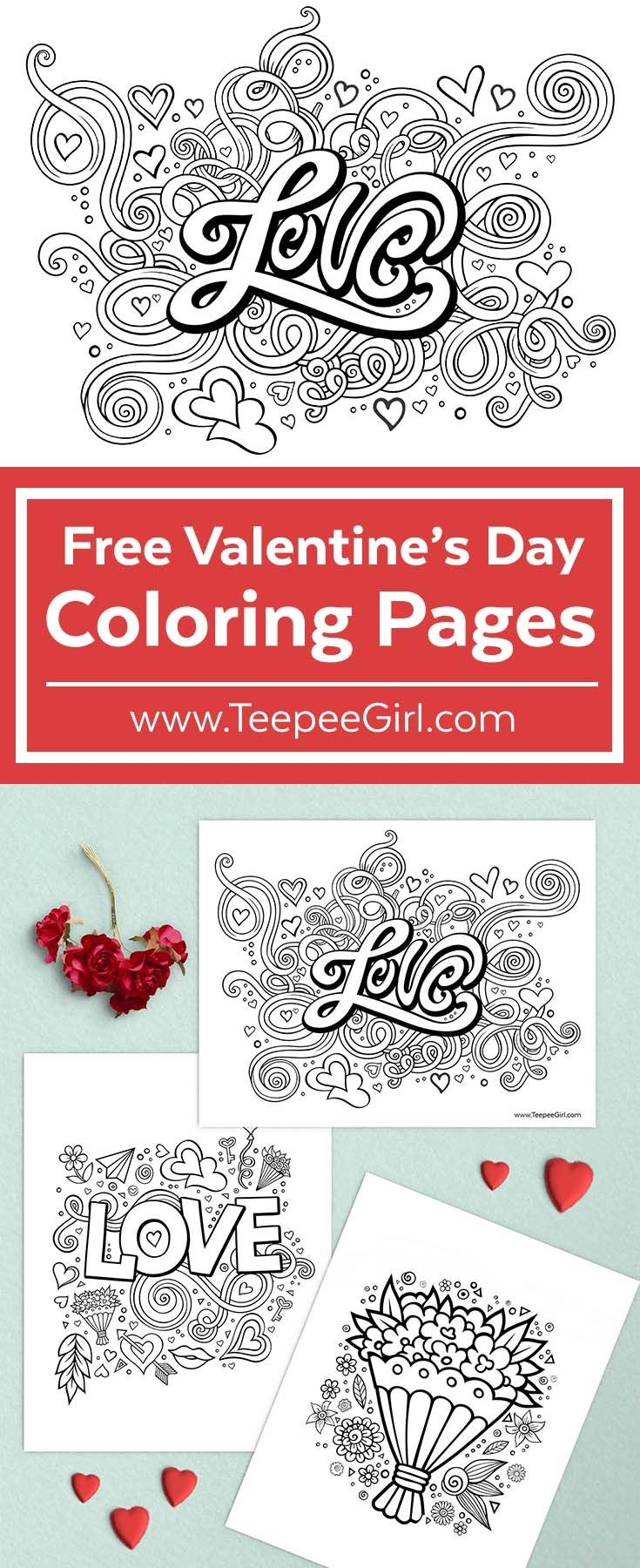 These free Valentines coloring pages are perfect for class & church parties, play-dates, and any other time you need to keep kids busy and happy! There are three pages so there is one for every coloring level. Click here or get yours at www.TeepeeGirl.com.