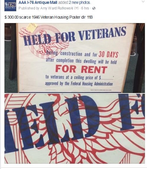 (32) $ 300.00 scarce 1946 Veteran Housing Poster dlr 11B - AAA I-76 Antique Mall
