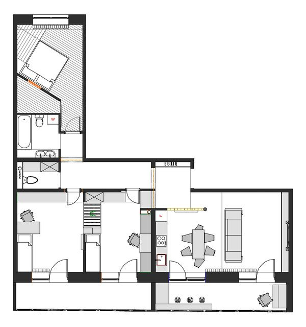 42 best hp house plan l shape images on pinterest for L shaped apartment floor plans