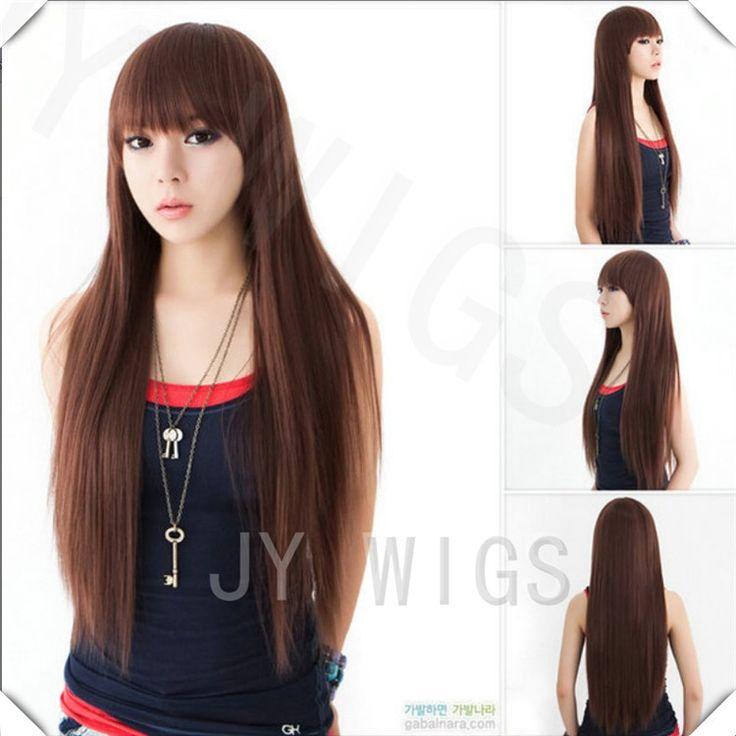 U Part Wig Womens Long Straight Hair Wig Cosplay Party Wigs Black/Brown U Part Wig Womens