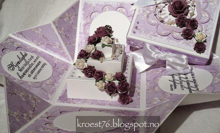Kristinas kortblogg: Eksplosjonsboks med firkantet kake og tutorial
