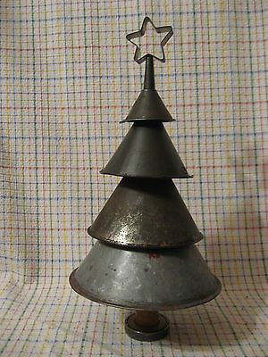 Primitive Metal Funnel Christmas Tree with a Vintage Cookie Cutter Star
