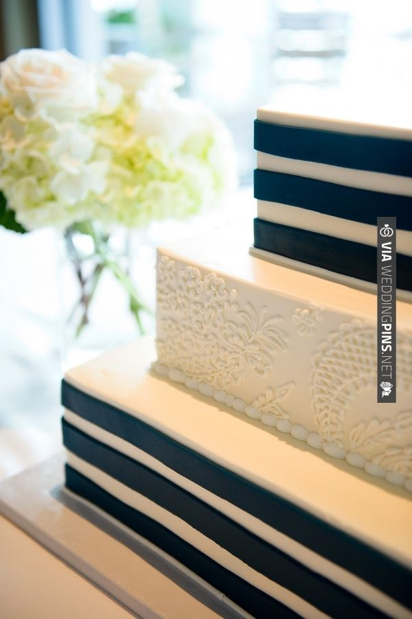 Navy Blue Wedding Cake - Navy Blue Nautical-Themed Sarasota Yacht Club Wedding - Andi Diamond Photography (26) | VIA #WEDDINGPINS.NET