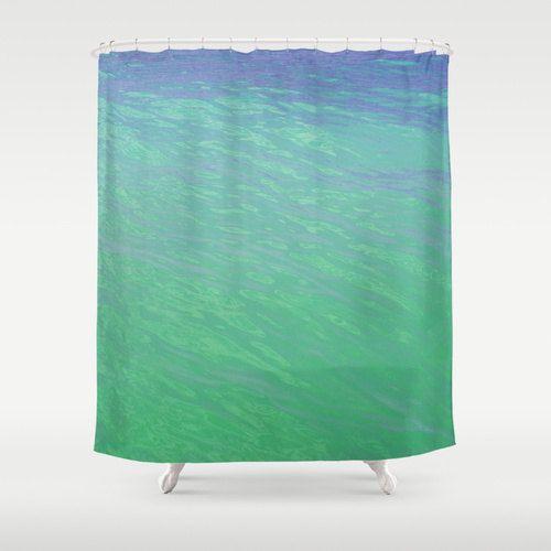 Mermaid Waters - Shower Curtain, Ocean Nautical Bath Tub Curtain Hanging Accent, Sea Foam Green Beach Surf Bathroom Decor. In 71x74 Inches
