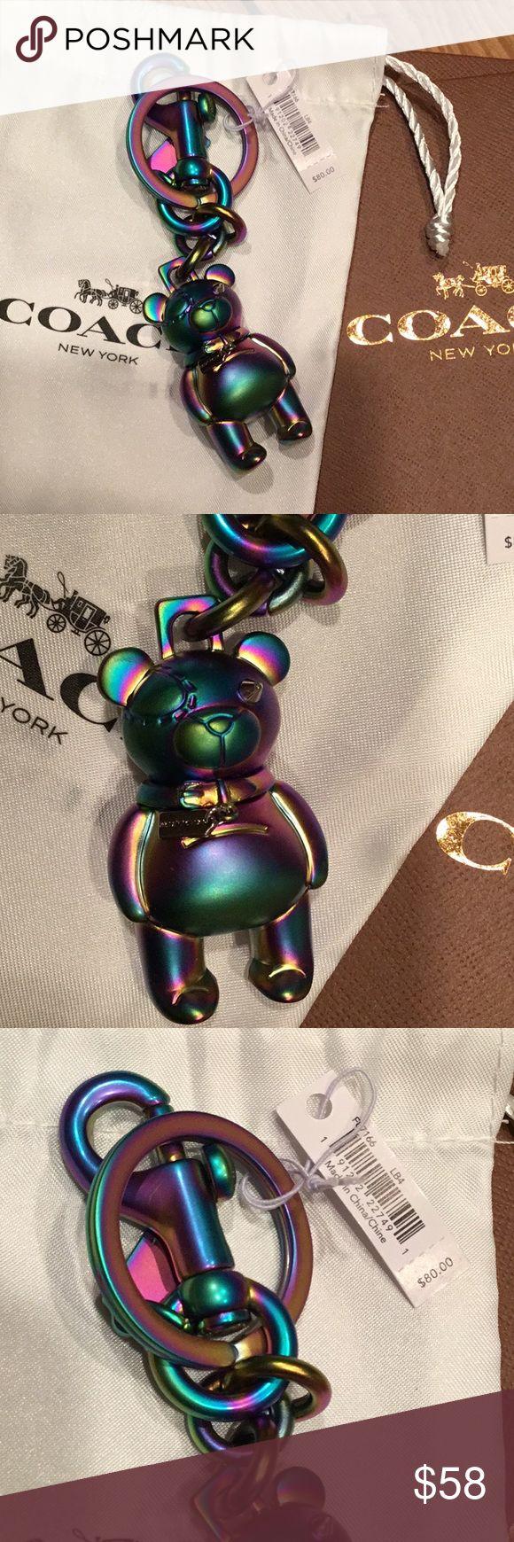 Coach keychain Adorable iridescent 3D Coach teddy bear key fob keychain Coach Accessories Key & Card Holders