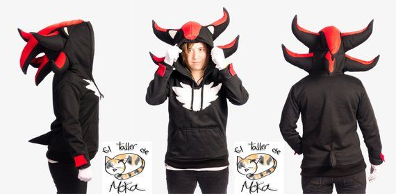 Shadow The Hedgehog Hoodie 6 Fully Puffy Spikes On The Hood Soft Microfiber White Chest Hair White Gloves Not Inc Shadow The Hedgehog Sonic Costume Hoodies