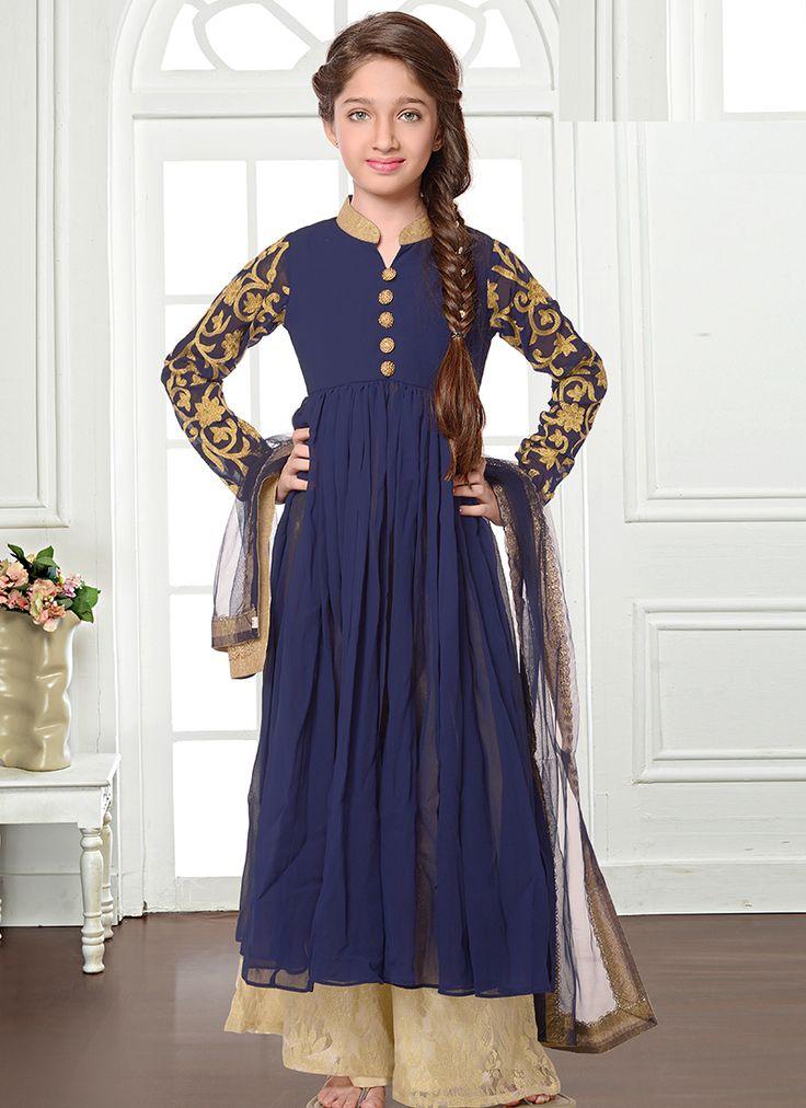 Blissful Navy Blue Georgette Kids Plazzo Style Salwar Suit