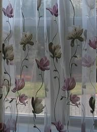 Embroidered Floral Curtains Organza Rod Pocket  White Sheers Curtains