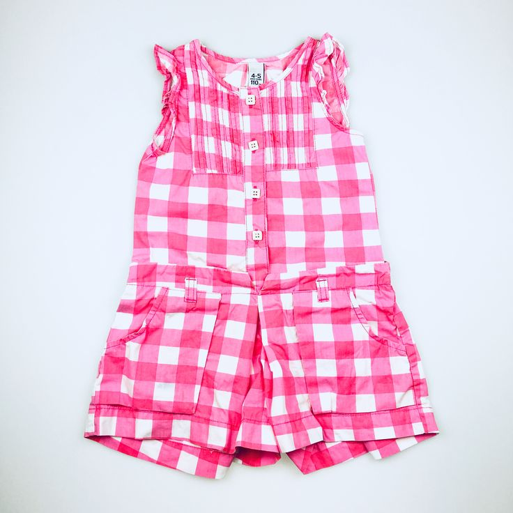 ZARA KIDS, pink and white checked cotton playsuit, good pre-loved condition (GUC), girl's size 4-5, $8  #playsuit #jumpsuit #kidsfashion  #Zara