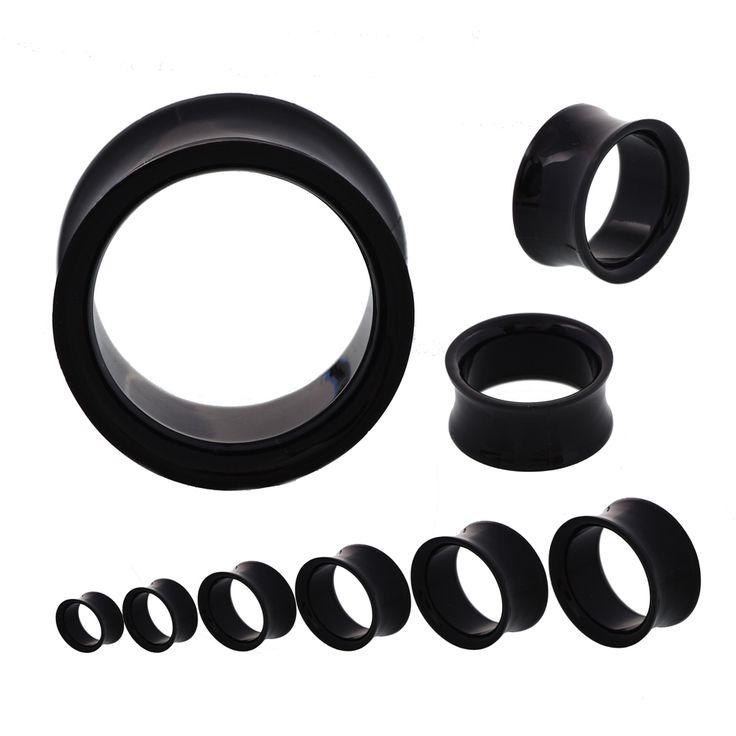 SwanJo 1 Pair Black White Acrylic Ear Tunnel Gauges Flesh Double Flared Tunnels Body Piercing Jewelry