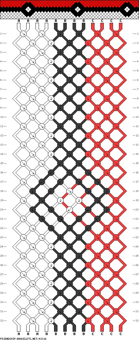 12 strings, 32 rows, 3 colors, pokeball bracelet. @Meredith Dlatt Moore Jacob would love this!