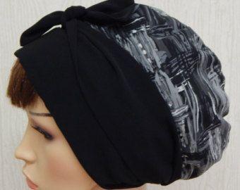 Schwarz / Weiß floral Kopftuch Kopfbedeckung der von kristine1986