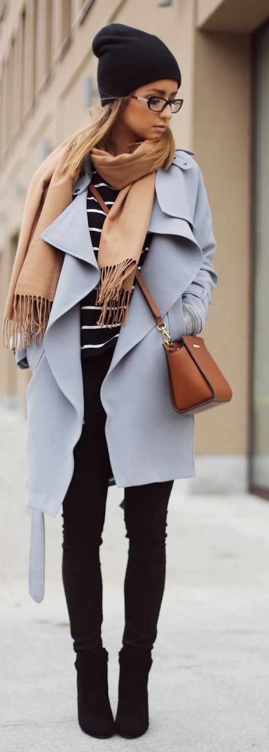 Shop this look on Lookastic: http://lookastic.com/women/looks/beanie-scarf-long-sleeve-t-shirt-coat-crossbody-bag-skinny-jeans-ankle-boots/7170 — Black Beanie — Tan Scarf — Black and White Horizontal Striped Long Sleeve T-shirt — Light Violet Coat — Brown Leather Crossbody Bag — Black Skinny Jeans — Black Suede Ankle Boots