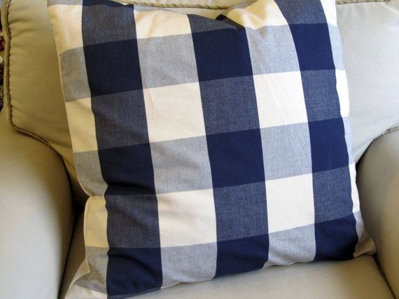 Large check pillows would be a great option for the living room.