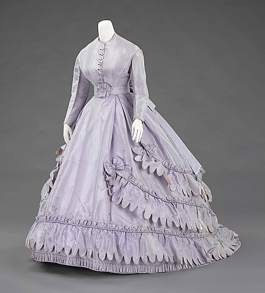 Lavender silk dress (with day bodice), by Worth and Bobergh, French, 1862-65. This is an example of the elegant simplicity with which Charles Frederick Worth made his reputation.
