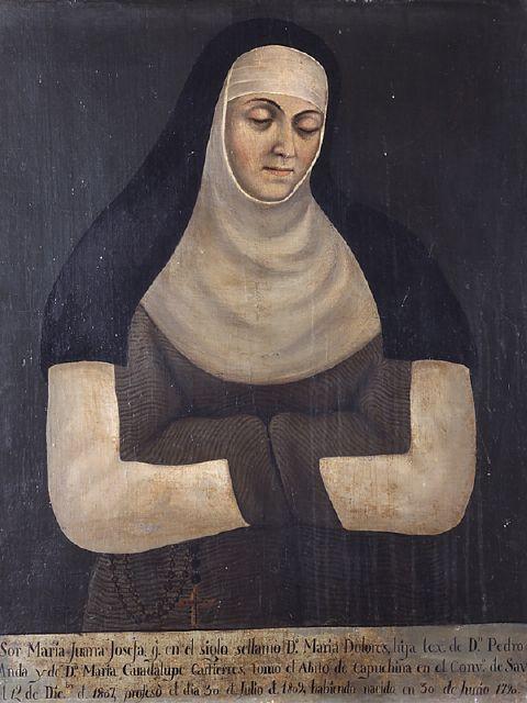 Anónimo, Retrato de sor María Juana Josefa de Anda y Gutiérrez, convento de La Concepción de Salvatierra, óleo sobre tela, 80.5 x 63.2 cm., 1809, colección: Museo Nacional del Virreinato-INAH, catalogación por Juan Carlos Cancino.