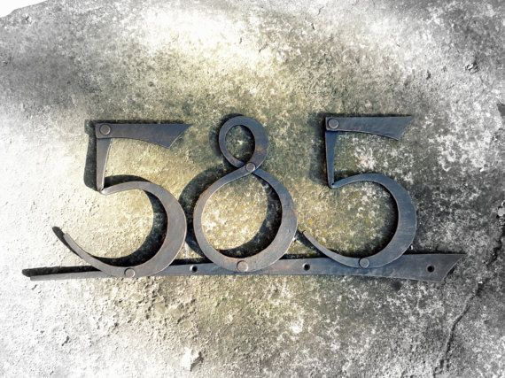 Hand forged house number. Metal number. Metal house decoration. House plate