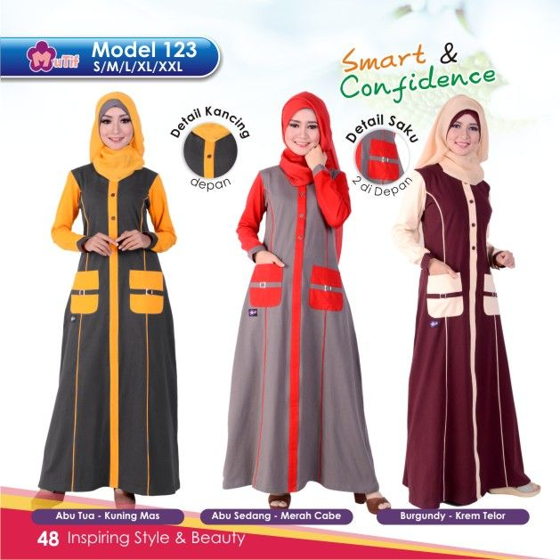 """Gamis Mutif 123 cocok untuk wanita yang ingin tampil""""Simple & Beauty"""",praktis dan nyaman digunakan dengan bahanKatun Combedyang nyaman dan tidak panas"""