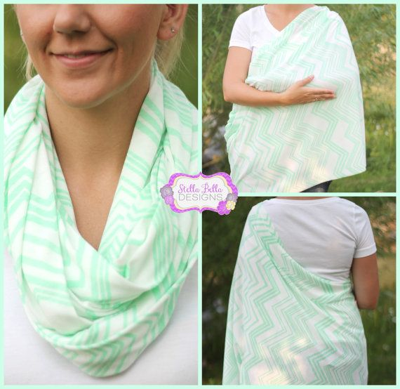 Skinny Mint Green Chevron on Ivory Hold Me Close Nursing Scarf, Nursing Cover, Infinity Scarf, Infinity Nursing Scarf