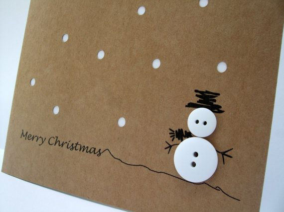 Christmas Card – Button Snowman with Paper Cut Snow – Paper Handmade Greeting Card – Holiday Card – Card Set – Pack