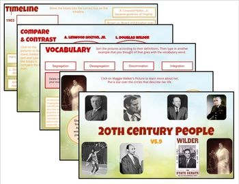 These slides are primarily for Google Classroom use. They cover 4th grade Virginia Studies: VS.9 for the Virginia SOLs. Each set of slides has a different variety of the following:- Timelines- Sequencing- Picture/sentence sorts- Compare & Contrast- Cause & Effect- Exploring 20th Century People: Woodrow Wilson, George C.