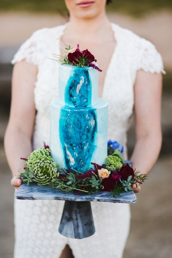 Seaside Wedding Inspiration. Blue Wedding Cake.  Hand painted geode wedding cake.  Geode Wedding Cake.