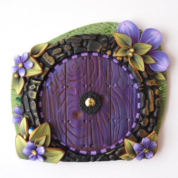 In the Shire Hobbit Fairy Door Pixie Portal in Violet by Claybykim, $23.00