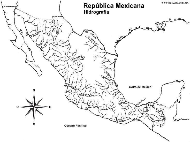 República Mexicana Hidrografía Con Nombres Mod 1