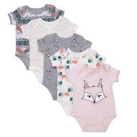 Rosie Pope Fox Print Collection choose from 5pack bodysuits, 2-pack pants, or 2-pack Footie Pajama