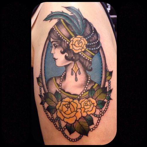laurajeangraham: Flapper girl I got to tattoo—would love to do more like this! Email me at laurajeangraham.art@gmail.com if you'd like to set something up. Laura Graham - Portland, OR