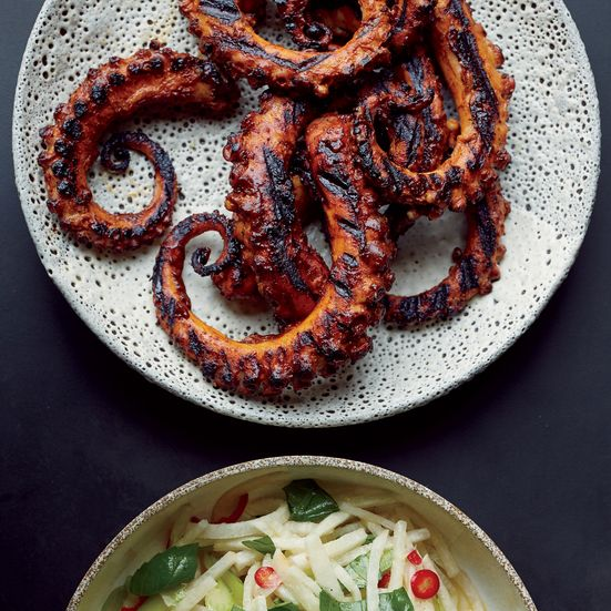 Grilled Octopus with Ancho Chile Sauce | Food & Wine / Tom Collicchio. Aspirational. Includes how to cook the octopus as well as the ancho/chipotle honey sauce.