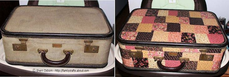 Fabric decoupaged onto an old suitcase to give it a face lift.