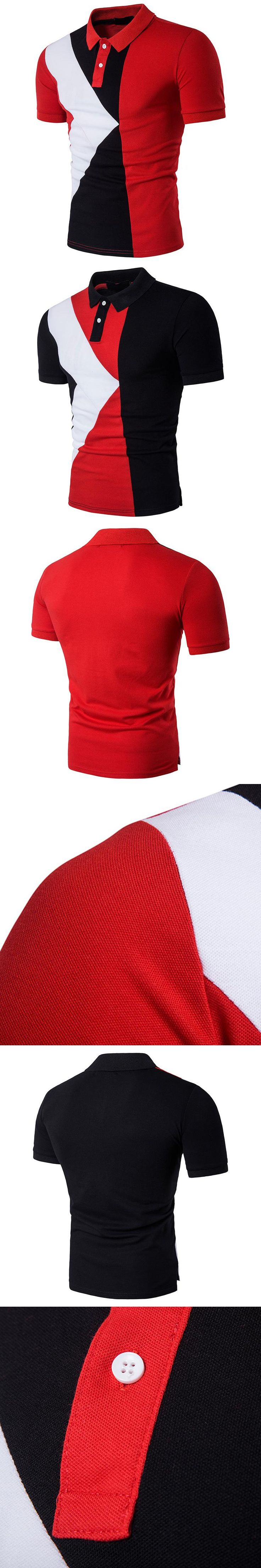 2017 Summer Fashion Mens Polo Shirt Cotton Geometric Stitching Short Sleeve Casual Shirt For Men Classic Casual Polos 13B65