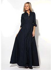 """Платье Nothing but Love  В этом платье с элементами рубашки идеально совмещаются романтика удобство и практичность. Натуральная хлопчатобумажная ткань отлично """"""""дышит"""""""" создавая ощущение прохлады в жаркий день. Материал не тянется но благодаря крою платье сидит довольно свободно и не стесняет движений. Приталенный верх и длинная ниспадающая складками юбка зрительно вытягивают силуэт создавая ощущение хрупкости. Широкая резинка на талии позволяет без проблем надеть платье даже если у вас…"""