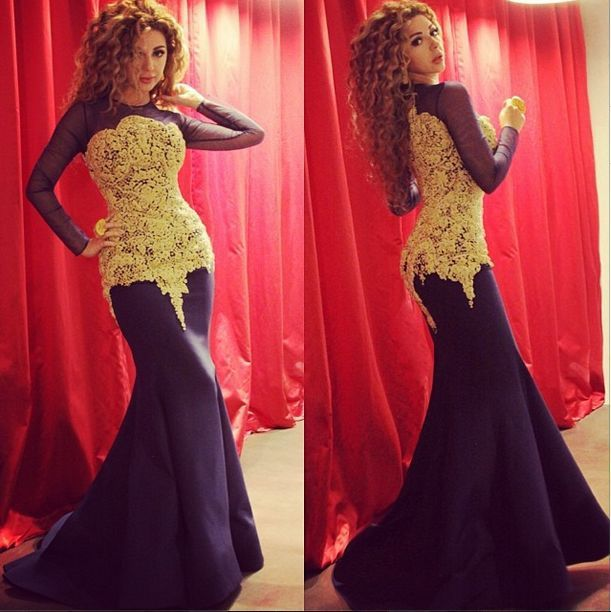 Two Tone Lace Satin Sheer Long Sleeves  Myriam Fares Dresses Celebrity Evening Gown vestido sereia
