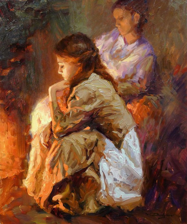 Vadim Dolgov - By the Fireplace by OilPaintersofAmerica on deviantART