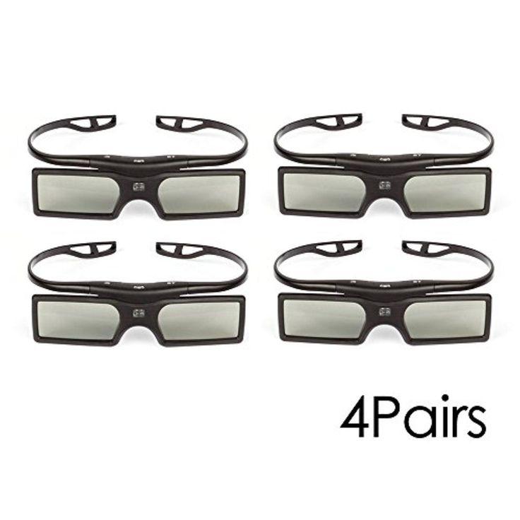 4 Pack SainSonic SS-15B Bluetooth Detachable 3D Glasses for Samsung Panasonic TV Black - Brought to you by Avarsha.com