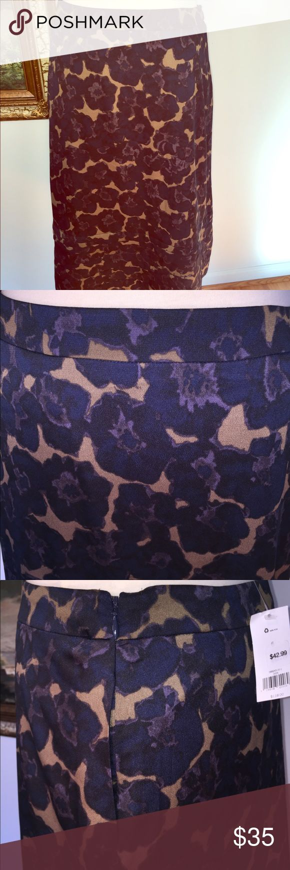 "Banana Republic Stitched Floral Midi Skirt A GORGEOUS skirt- color, style, design, cut, fit, details- all superb. Has two discreet side pockets. Side zipper. Lined. NWT Length: 29""  Waist laid flat: app 15"" The color is dark navy/ light purple flower patterns on an olive green. Banana Republic Skirts"