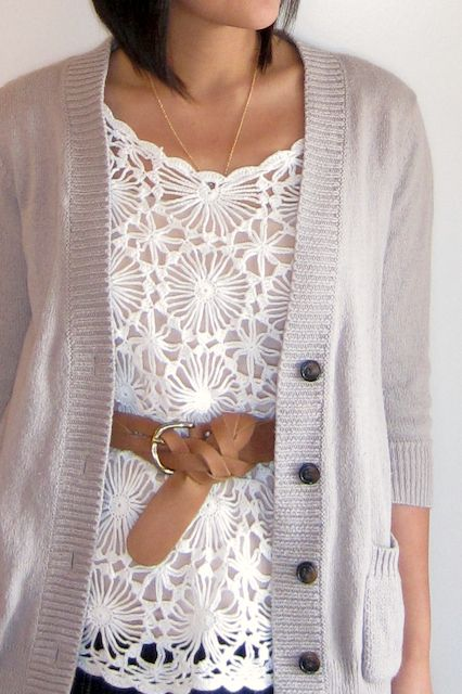 Love this white lace top, tank and cardigan.  Would look so elegant and adorable!