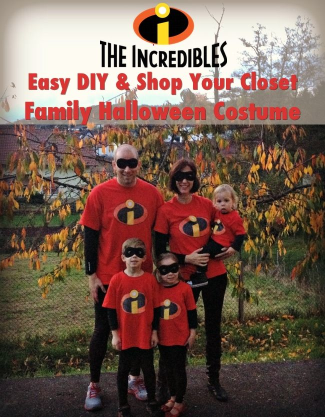 The Incredibles Family Halloween costumes: Incredibly easy DIY and shop your closet costumes for the whole family.