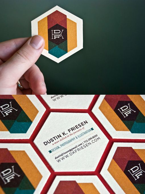 Hexagonal Business Cards    Self-promo business cards for the work of Dustin K. Friesen. Each side printed digitally on Crane's #110 Pearl White and then adhesed together (resulting in an effective #220DTC). Die-cut by hand with a rotary cutter.