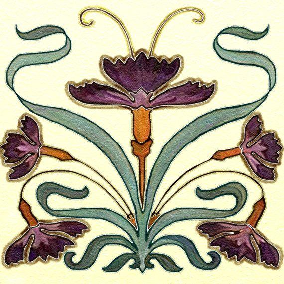 Nouveau Art Tile Ceramic Kitchen Backsplash 6 by CCCnet on Etsy, $12.99