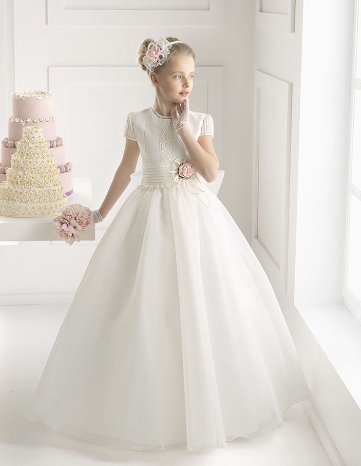 Honorable Aline Jewel Short Sleeve Hand Made Flowers Floorlength Satin Organza First Communion Dresses