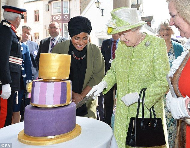 As part of her celebrations the Queen was presented with a cake by Bake Off winner Nadiya ...
