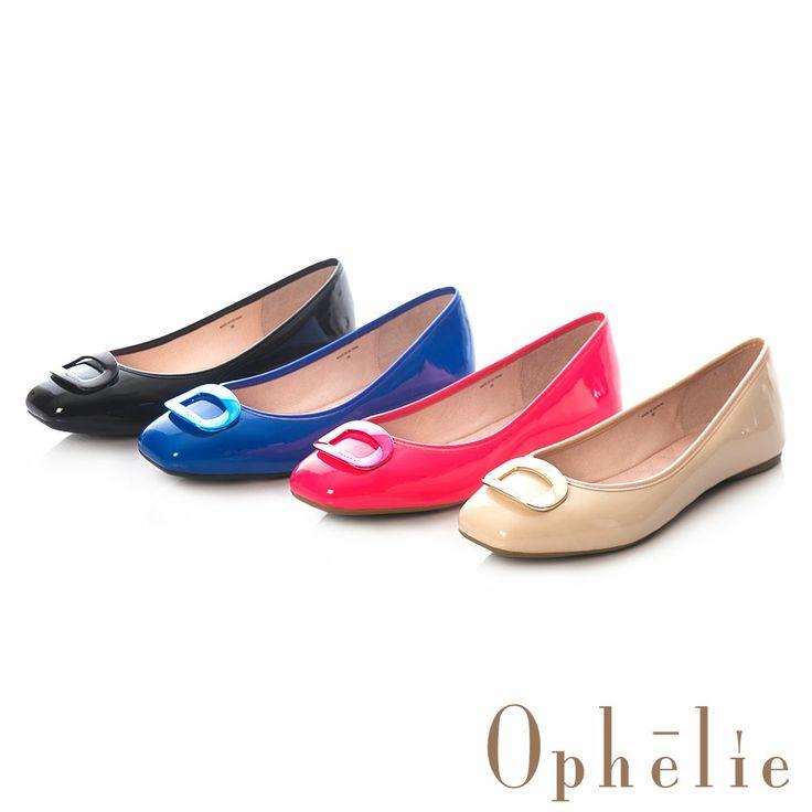 Ophelie-鏡面金屬方釦平底娃娃鞋-吸睛桃 - Yahoo!奇摩購物中心