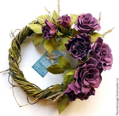 Цветы из фоамирана. Интерьерная композиция - бордовый,интерьерная композиция