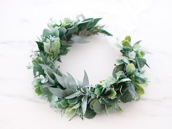 flower crown greenery crown olive leaf crown fake eucalyptus green halo floral crown dark green crown Eucalyptus Flower Crown