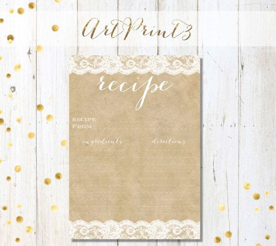 Brown Paper&Lace Bridal Shower Recipe Card, Bridal Shower Recipe Card, Printable Rustic Bridal Shower Recipe Card, Rustic Bridal Recipe Card