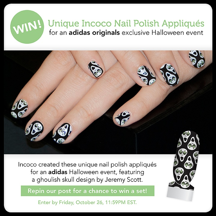 Incoco created these unique nail polish appliqués for an adidas Halloween event, featuring a ghoulish skull design by Jeremy Scott!     Follow Incoco and repin this post for a chance to win a set!    Enter by Friday, October 26, 11:59PM EST.