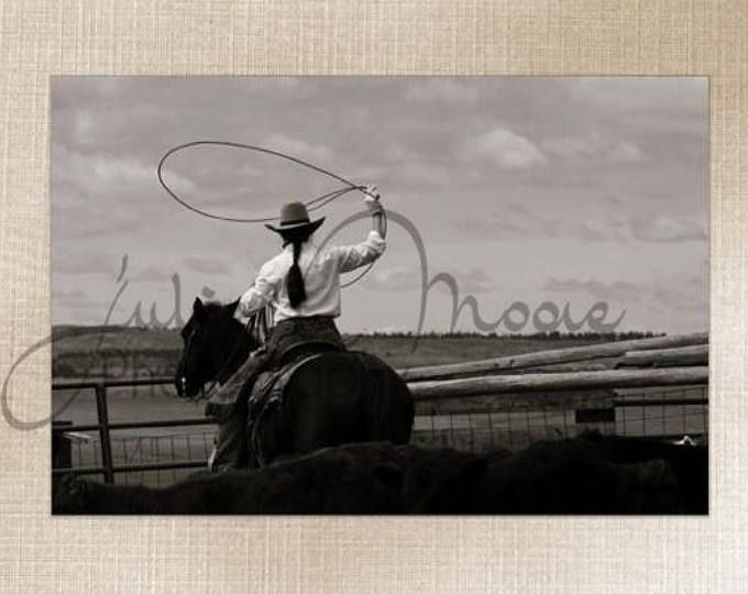 Roping Montana Western Cowgirl - Wall Art Decor - Fine Art Photography Canvas Gallery Wrap - Country Rustic Horse Cowgirl Black & White